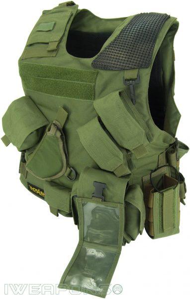 IWEAPONS® Combat Bulletproof Vest - Holster Model - Green - Left Hand