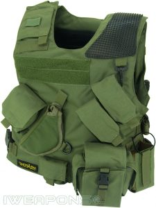IWEAPONS® Combat Bulletproof Vest - Holster Model - Green - Left Hand