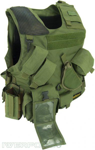 IWEAPONS® Combat Bulletproof Vest - Holster Model - Green - Right Hand
