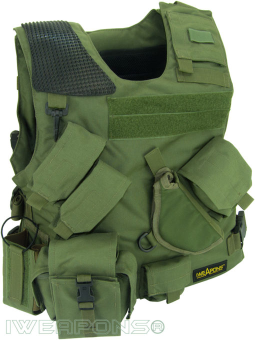 IWEAPONS® Combat Bulletproof Vest - Holster Model - Green - Right Hand