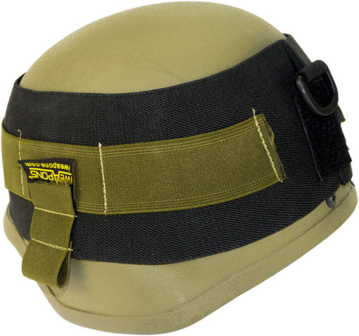 IWEAPONS® Black Elastic Cover with Green Strap for Helmet