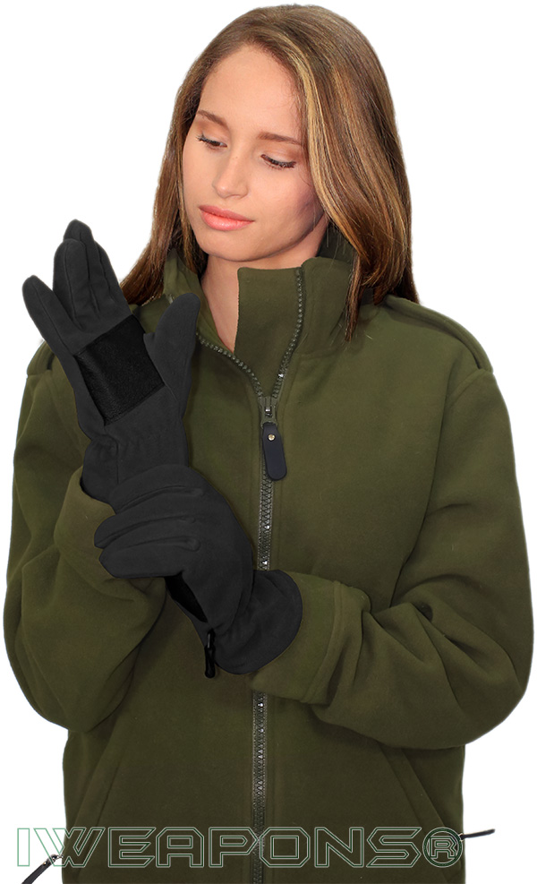 IWEAPONS® Fleece Gloves With Leather - Black