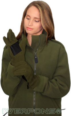 IWEAPONS® Fleece Gloves With Leather - Green