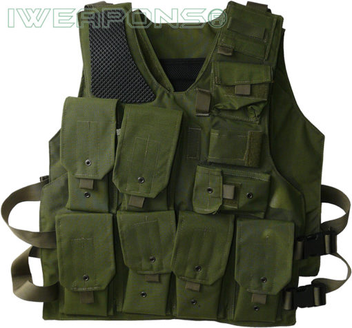IWEAPONS® Israeli Army Green Military Vest with Mag Pouches