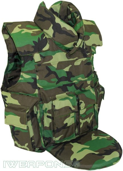 IWEAPONS® Delta Camo Bulletproof Vest IIIA with 4 Mag Pouches