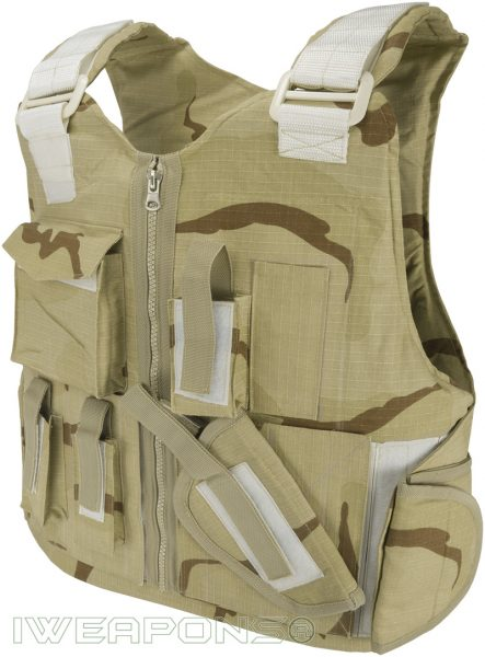 IWEAPONS® Desert Camo Tactical Bulletproof Vest with Modular Velcro System