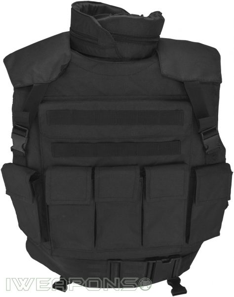 IWEAPONS® SWAT Tactical MOLLE Bullet Proof Vest with Neck & Shoulder Protection and Armor Plates