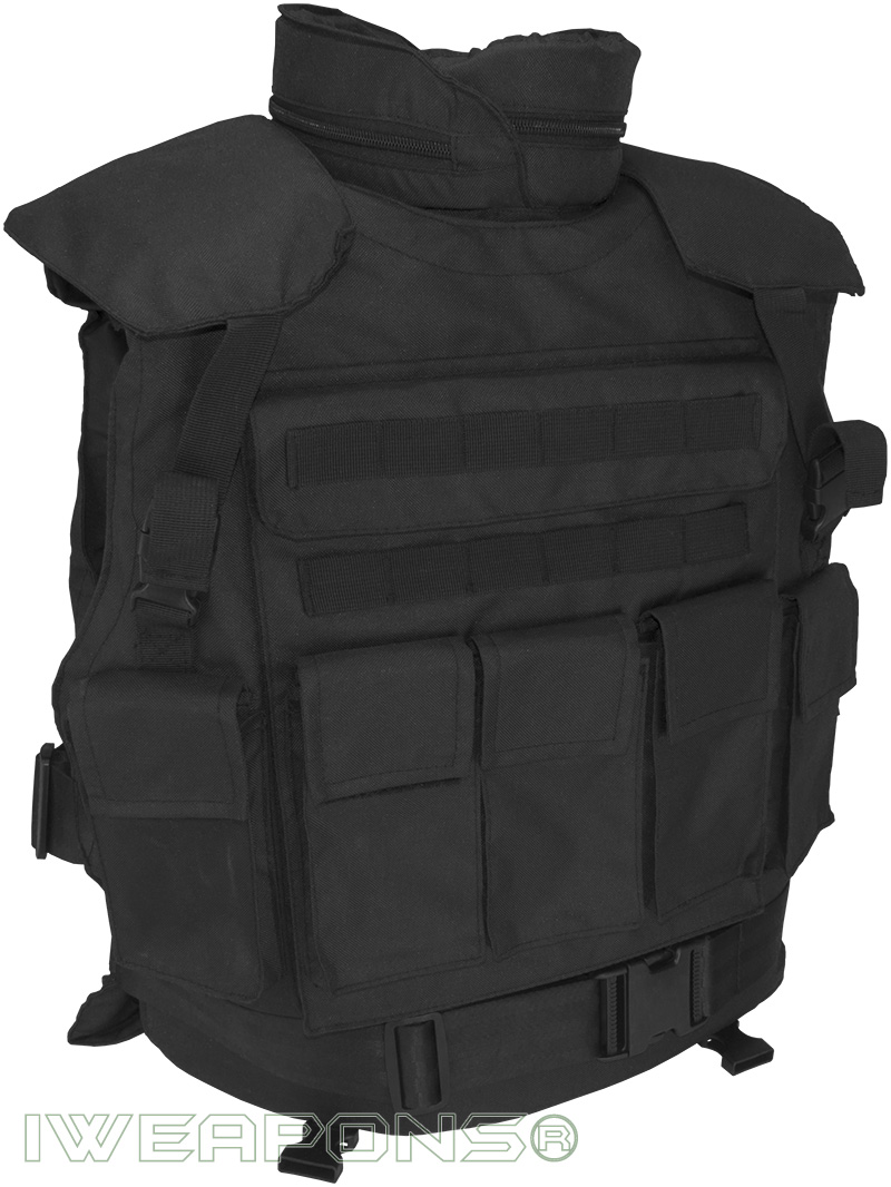 IWEAPONS® SWAT Tactical MOLLE Bullet Proof Vest with Neck ...