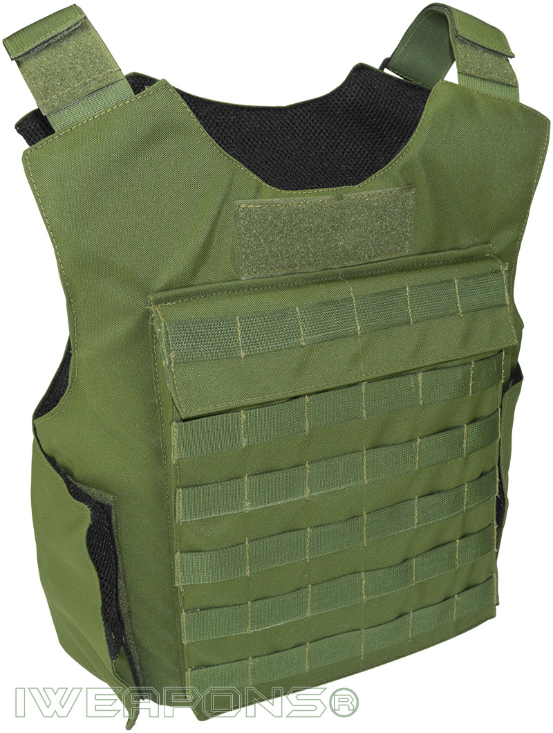 IWEAPONS® MOLLE External Bulletproof Vest IIIA / 3A with 25×30cm Pockets for Armor Plates - Green