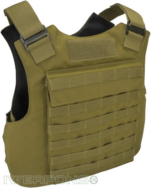 IWEAPONS® MOLLE External Bulletproof Vest IIIA / 3A with 25×30cm Pockets for Armor Plates - Tan