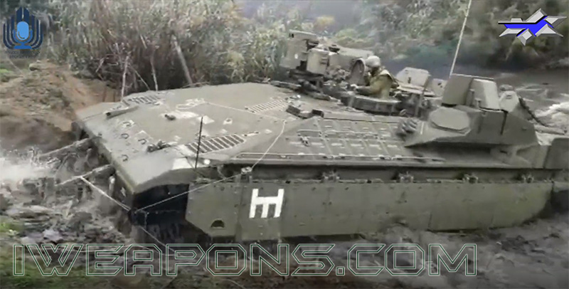 Namer APC crossing a water barrier